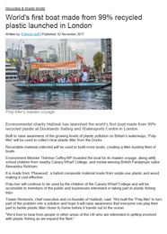 World's first boat made from 99% recycled plastic launched in London pdf